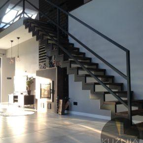 Schody Loft / minimalizm / drewno + metal / dom prywatny Wrocław